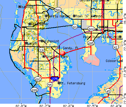 Gandy, FL map