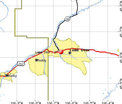 Lame Deer, MT map