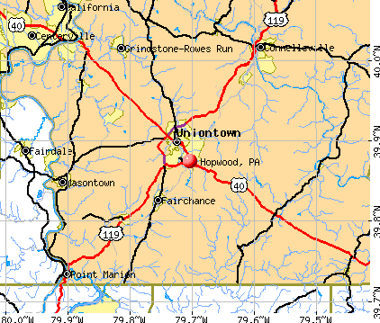 Hopwood, PA map