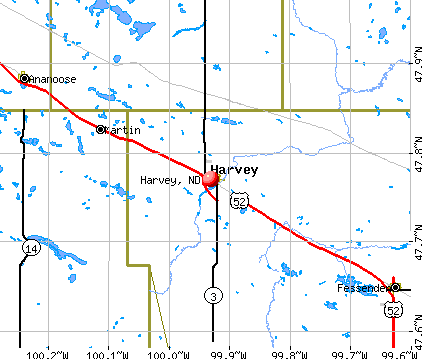 Harvey, ND map