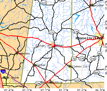 Elkton, KY map
