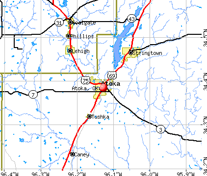 Atoka, OK map