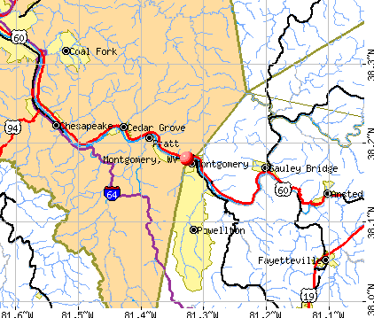 Montgomery, WV map