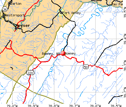 Romney, WV map