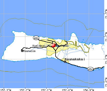 Kualapuu, HI map
