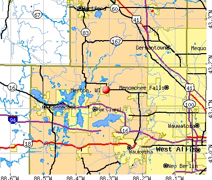 Merton, WI map