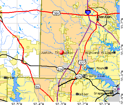 Justin, TX map