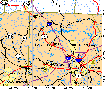 Inman, SC map