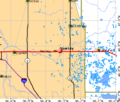 Hawley, MN map