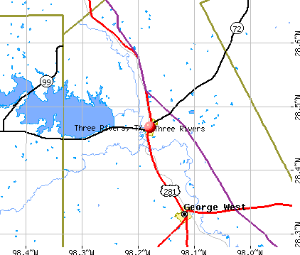 Three Rivers, TX map