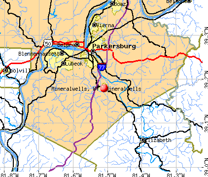 Mineralwells, WV map