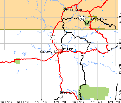 Custer, SD map