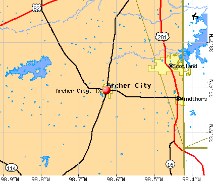 Archer City, TX map