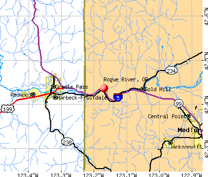Rogue River, OR map