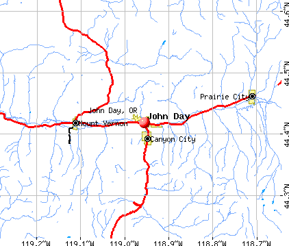 John Day, OR map