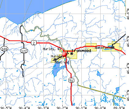 Hurley, WI map