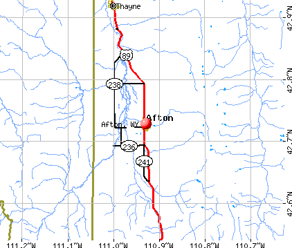 Afton, WY map
