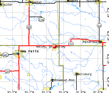 Ackley, IA map