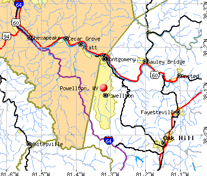 Powellton, WV map