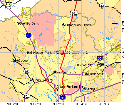 Hollywood Park, TX map