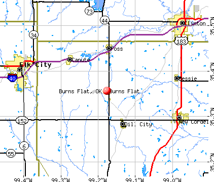 Burns Flat, OK map