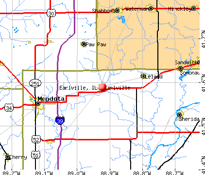 Earlville, IL map