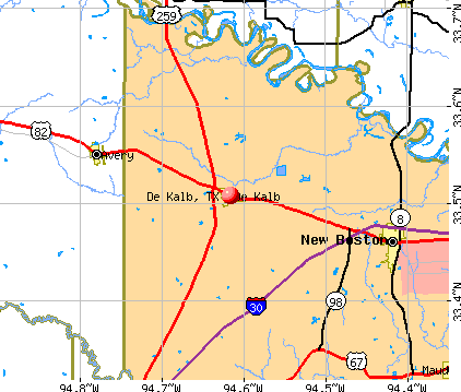 De Kalb, TX map