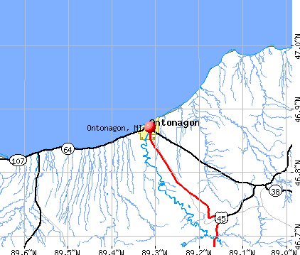 Ontonagon, MI map