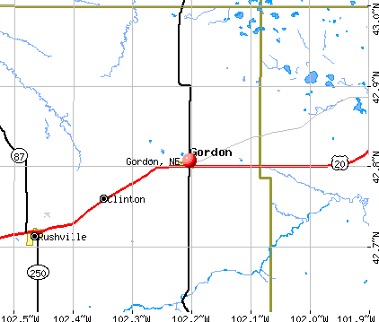 Gordon, NE map