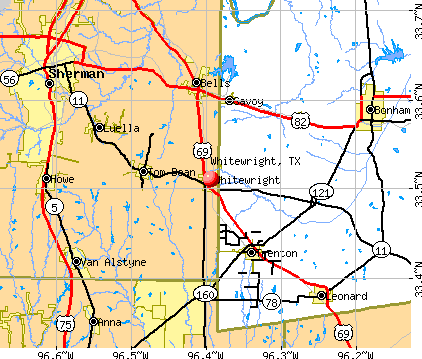 Whitewright, TX map