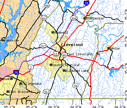 East Cleveland, TN map