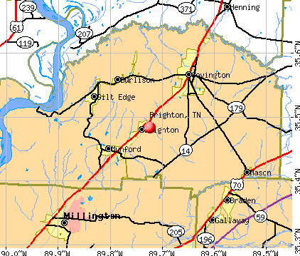 Brighton, TN map