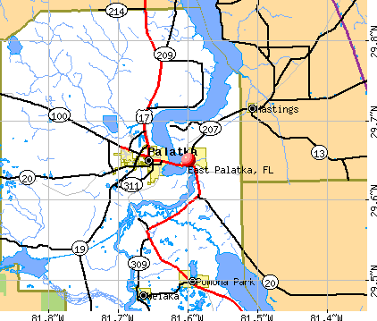 East Palatka, FL map