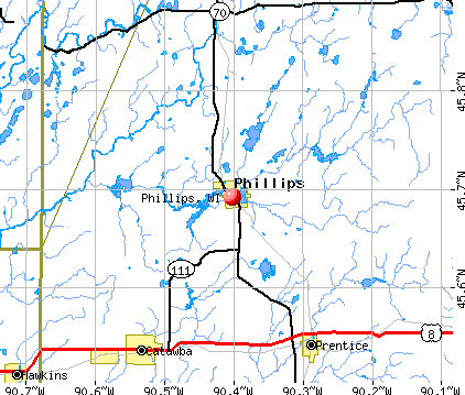 Phillips, WI map