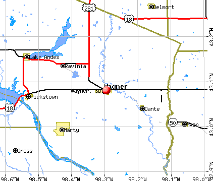Wagner, SD map