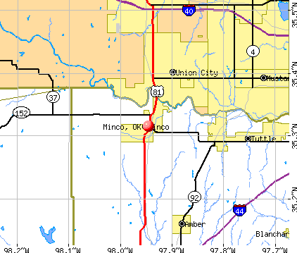 Minco, OK map
