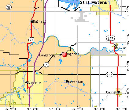 Langston, OK map