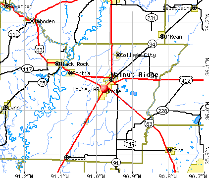 Hoxie, AR map