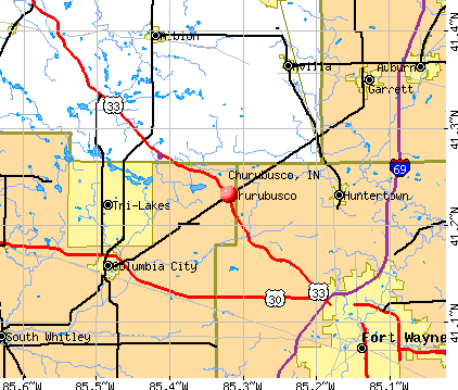 Churubusco, IN map