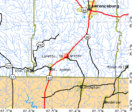 Loretto, TN map