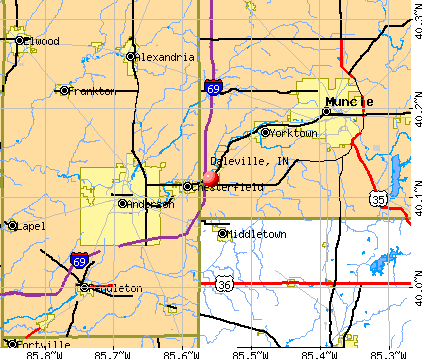 Daleville, IN map