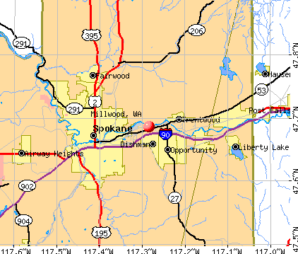 Millwood, WA map