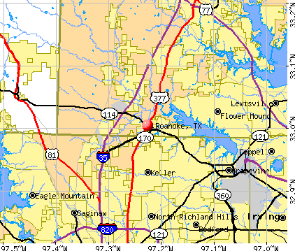 Roanoke, TX map