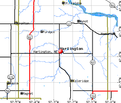 Hartington, NE map