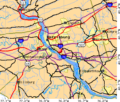 Bressler-Enhaut-Oberlin, PA map