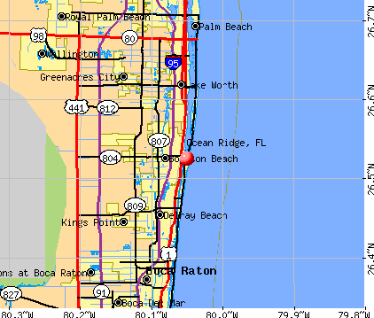 Ocean Ridge, FL map