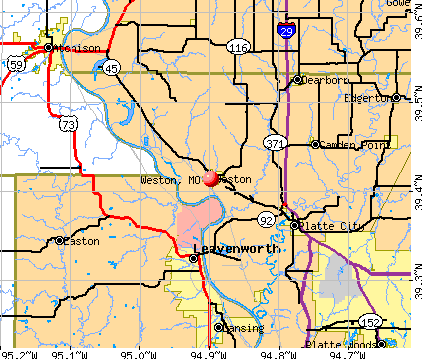 Weston, MO map
