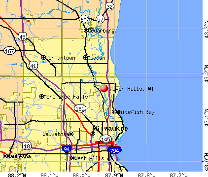 River Hills, WI map