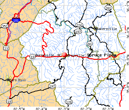Burnsville, NC map