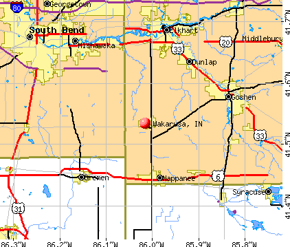 Wakarusa, IN map